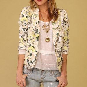 Free People Floral Blazer Linen Cotton jacket S 4